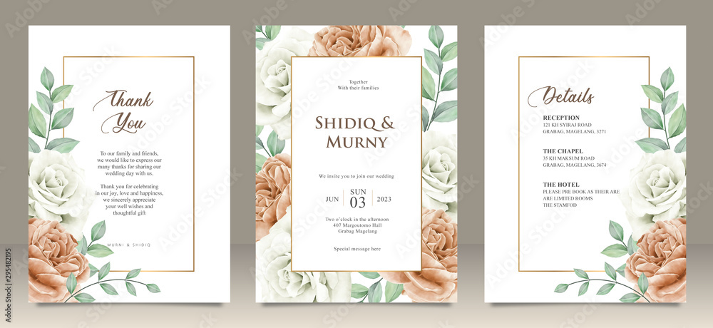 Fototapety, obrazy: Happy wedding card floral garden invitation card marriage, details, thank you