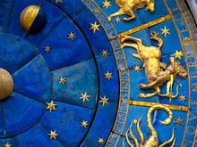 Sagittarius Astrological Sign On Ancient Clock. Detail Of Zodiac Wheel With Sagittarius. Golden Symbol Of Sagittarius On Star Circle Closeup. Concept Of Astrology And Horoscope.