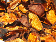 Yellow And Brown Aromatic Dry Leaves. Background Aroma Of Leaves.