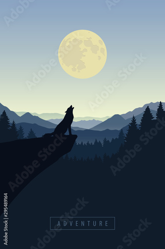 wolf on a cliff howls at full moon blue nature landscape vector illustration EPS Fototapeta