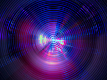 Abstract Neon Glowing Disk - Digitally Generated Image