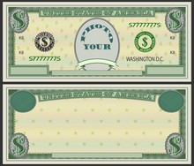 An Example Of A Form Similar To US Banknotes And The Inscription Your Photo