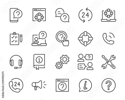 Photo set of support icons, communicaton, help, call, service