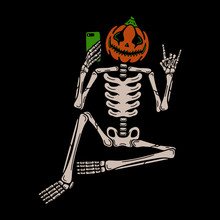 Selfie Halloween Pumpkin Skeleton Text On Black Background