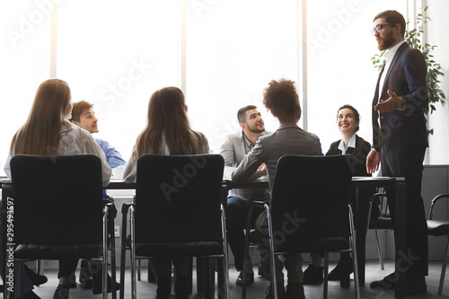 CEO presenting lecture in the boardroom office