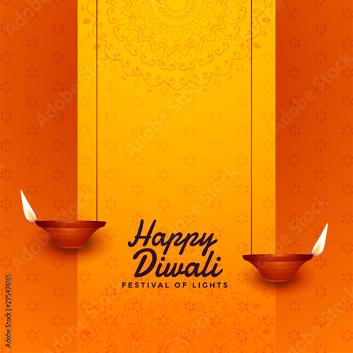 diwali festival celebration card diya design background Wallpaper Mural