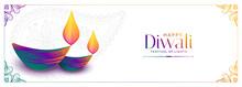 Colorful Diya Design For Happy...