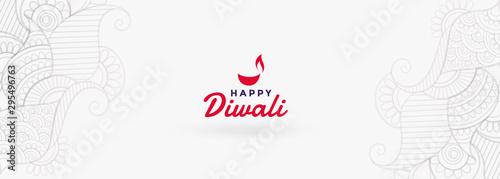 Photo  clean white happy diwali festival banner design