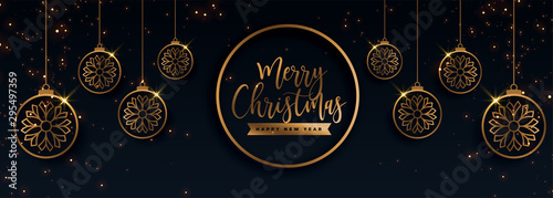 Photo  premium golden merry christmas decorative banner design