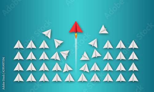 Obraz Illustration with paper planes on coloured background metaphor for be different or go your way - fototapety do salonu