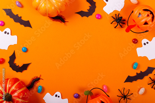 Halloween and decoration concept. Collection of Halloween party objects forming a frame.