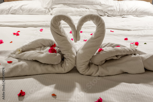 Photo Cygnes amoureux avec des serviettes, décor de lit