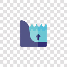 Flood Icon Sign And Symbol. Flood Color Icon For Website Design And Mobile App Development. Simple Element From Weather Collection Isolated On Black Background.