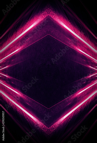 Photo  Abstract dark neon background