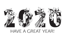Happy New Year Floral Pattern 2020 Figures Hand Drawn Floral Ornament.