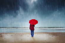 Lonely Woman With Red Umbrella...