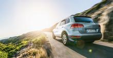 SUV Car In Spain Mountain Land...