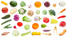 Many Various Fresh Ripe Vegetables Isolated