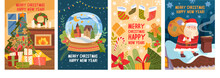 Set Of Four Christmas Greeting Card Designs With Text Merry Christmas Happy New Year And Colorful Xmas Scenes Of A Decorated Tree, Snow Globe, Decorations And Santa On The Rooftop, Vector Illustration
