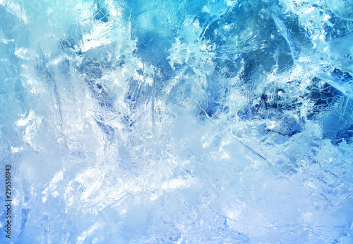 Door stickers Macro photography Pattern of transparent shiny ice.