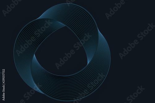 Fotomural  The virtual image of Mobius ring geometric figure, 3d rendering