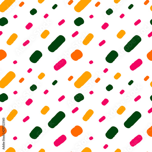 Pinturas sobre lienzo  hand drawn colorful confetti on white background simple abstract seamless vector