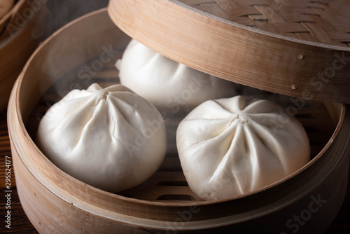 chinese steamed bun in traditional bamboo steamer Wallpaper Mural