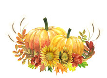 Watercolor Two Pumpkins And Su...
