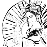 Modern Geisha woman or girl illustration. Geisha with umbrella