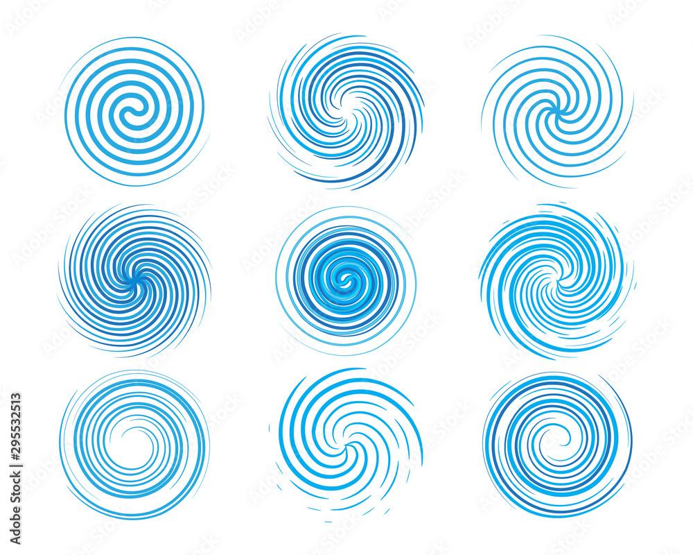 Fototapeta Design elements spiral motion twisted swirl set