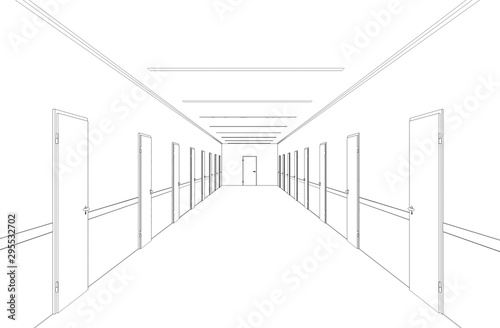 Carta da parati long corridor with doors, contour visualization, 3D illustration, sketch, outlin
