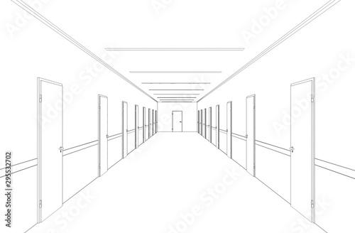 Tableau sur Toile long corridor with doors, contour visualization, 3D illustration, sketch, outlin