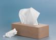 Leinwanddruck Bild - paper tissue box on blue background
