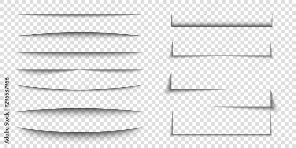 Fototapeta Paper sheet shadow effect. 3D line edge shape. Transparent realistic sheet dividers. Web banner vector drop soft shadows