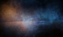 Wet Asphalt, Reflection Of Neon Lights, A Searchlight, Smoke. Abstract Light In A Dark Empty Street With Smoke, Smog. Dark Background Scene Of Empty Street, Night View,