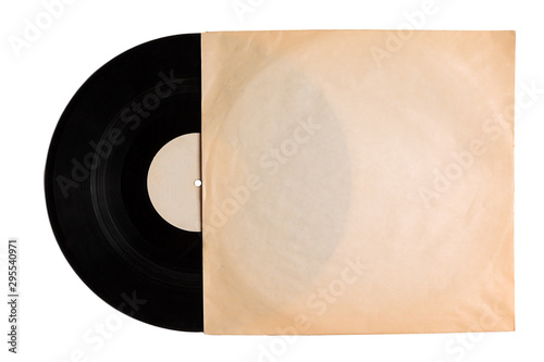 Fotografía vintage old music record in old package, vinyl record with pure label isolated o