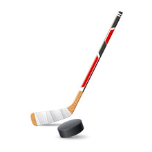 Vector Realistic Ice Hockey Stick With 3d Puck
