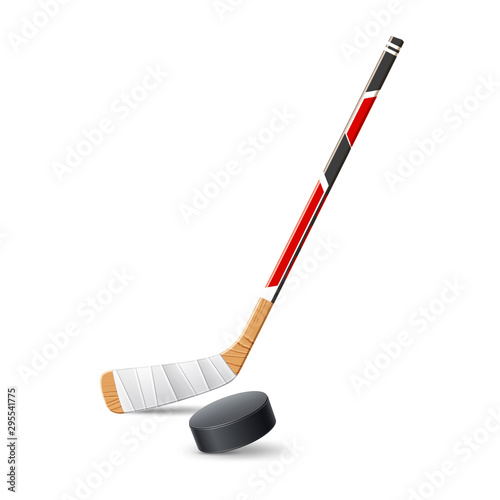 Fotografia Vector realistic ice hockey stick with 3d puck