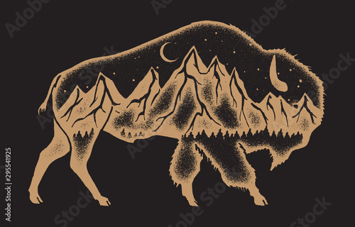 Valokuva American bison with mountain range inside double exposure style vintage sign - h
