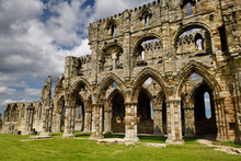13th Century Gothic Ruins Of Whitby Abbey Stone Church In North York Moors National Park England