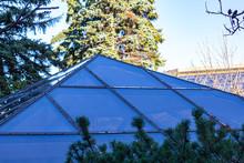 Glass Pyramid Skylight On A Rooftop Terrace