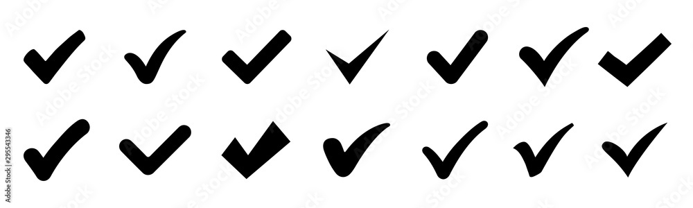 Fototapeta Approval check icon isolated, set quality sign, tick – vector for stock