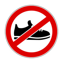 No Shoes Sign - Stock Vector