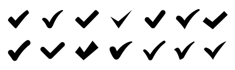 Approval check icon isolated, set quality sign, tick – vector for stock