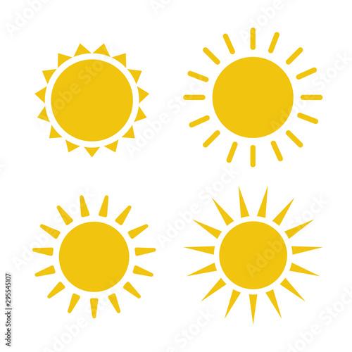 Obraz Sun icon illustration. Sunshine isolated set. Sun logo vector - fototapety do salonu