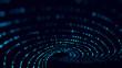 Leinwandbild Motiv Abstract dark background with movement of luminous particles. Digital technology. 3D rendering.
