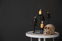Halloween Decor On Table Near ...