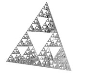 Sierpinski Triangle On White Background. It Is A Fractal With The Overall Shape Of An Equilateral Triangle, Subdivided Recursively Into Smaller Equilateral Triangles. 3D Illustration