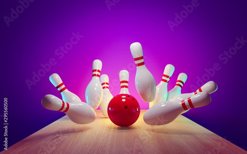 Bowling strike - ball hitting pins in the alley 3d render Fototapet