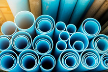 Close Up To Blue Plastic Pipe ...